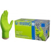 Gloveworks Nitrile Rubber Gloves Heavy Duty 8mil (Green) 100 Count Box