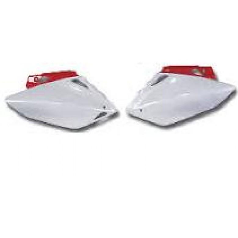 UFO Side Panels Left / Right - Honda CRF450R / CRF450X (02-04) - White w/ Red Trim