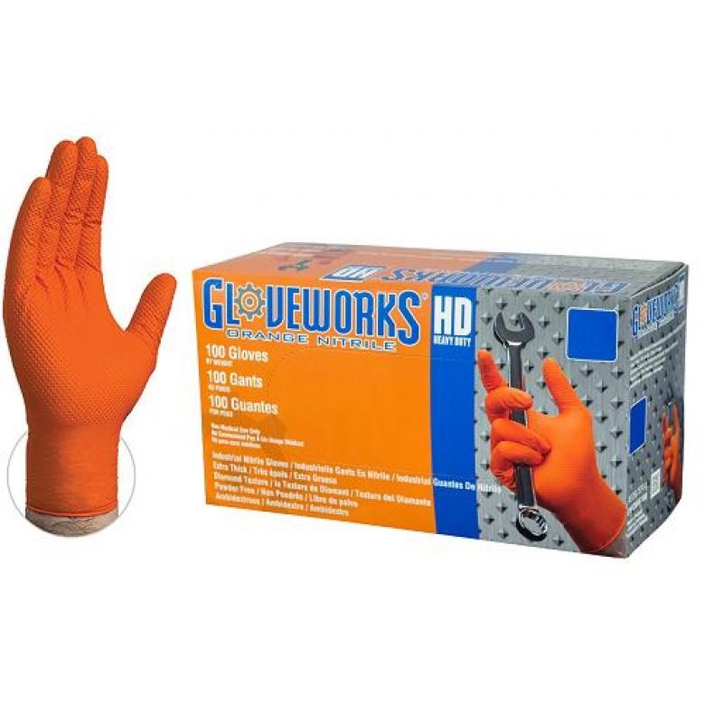 Gloveworks Nitrile Rubber Gloves Heavy Duty 8mil (Orange) 100 Count Box