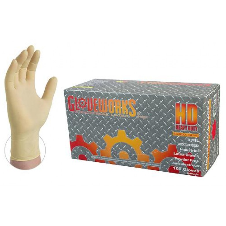 Gloveworks Rubber Gloves Heavy Duty 6mil  Latex (Ivory) 100 Count Box