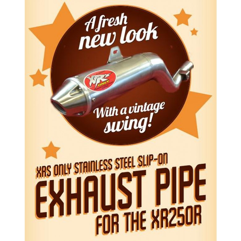 XRs Only Exhaust Pipe - Honda XR250R / XR250L (1986-1995) - Stainless Steel Round, Cone Tip